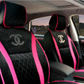 Luxury Chanel Universal Automobile Velvet Sheepskin Car Seat Cover Cushion 10pcs Sets - Black+Rose