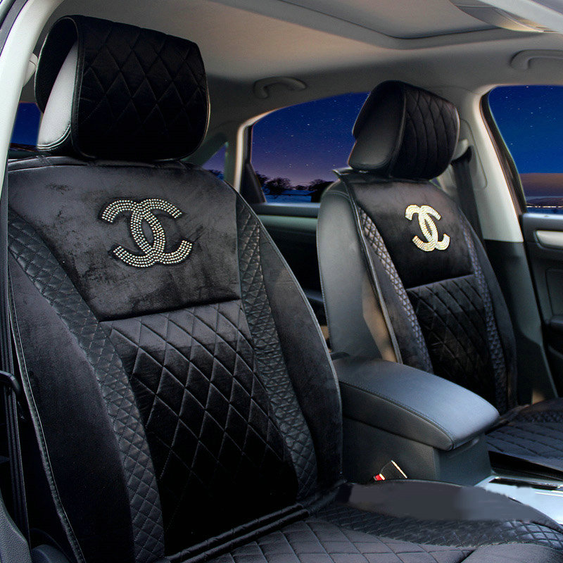 buy wholesale luxury chanel universal automobile velvet sheepskin car seat cover cushion 10pcs. Black Bedroom Furniture Sets. Home Design Ideas