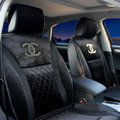 Luxury Chanel Universal Automobile Velvet Sheepskin Car Seat Cover Cushion 10pcs Sets - Black
