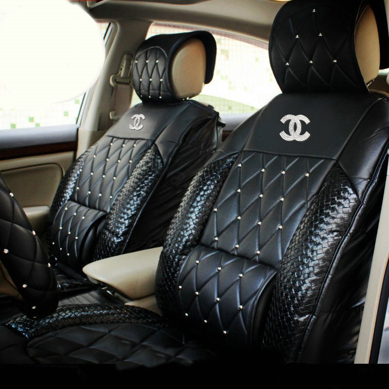 buy wholesale luxury crystal chanel universal automobile leather car seat cover cushion 10pcs