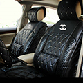 Luxury Crystal Chanel Universal Automobile Leather Car Seat Cover Cushion 10pcs Sets - Black