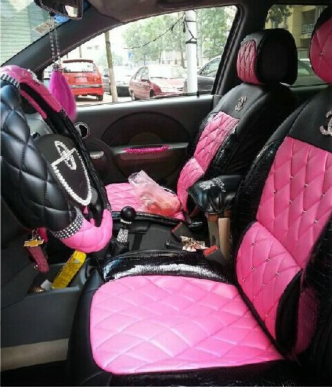 buy wholesale luxury crystal chanel universal automobile leather car seat cover cushion 10pcs. Black Bedroom Furniture Sets. Home Design Ideas