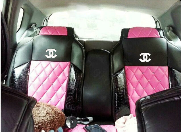 NAMELuxury Crystal Chanel Universal Automobile Leather Car Seat Cover Cushion 10pcs Sets
