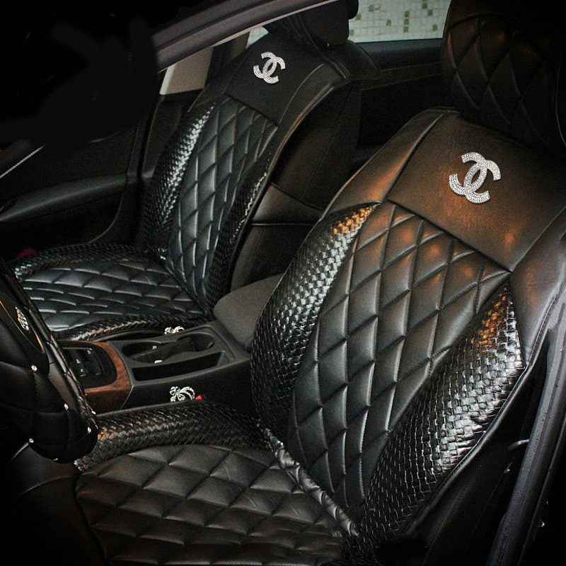 buy wholesale luxury diamond chanel universal automobile leather car seat cover cushion 10pcs. Black Bedroom Furniture Sets. Home Design Ideas