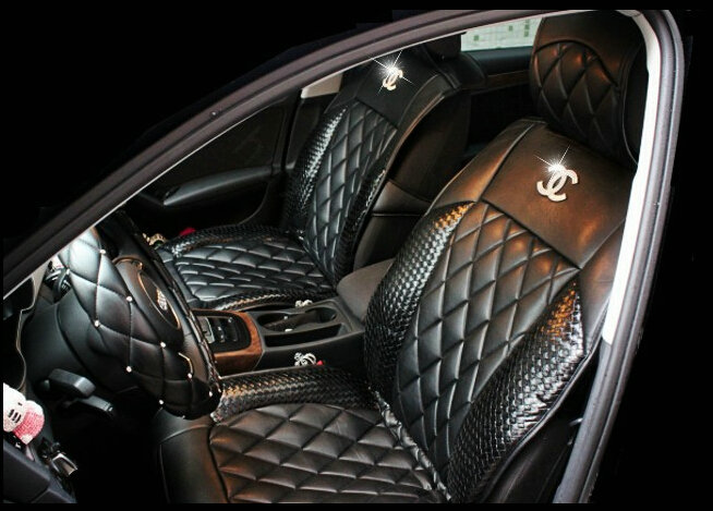 Name Luxury Diamond Chanel Universal Automobile Leather Car Seat Cover Cushion 10pcs Sets Black