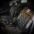 Luxury Diamond Chanel Universal Automobile Leather Car Seat Cover Cushion 10pcs Sets - Black