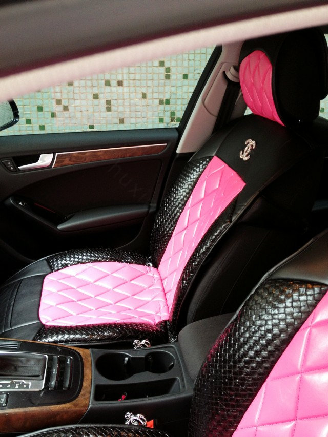 Buy Wholesale Luxury Diamond Chanel Universal Automobile Leather Car Seat Cover Cushion 10pcs