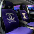 Luxury Diamond Chanel Universal Automobile Velvet Car Seat Cover Cushion 10pcs Sets - Purple