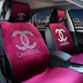 Luxury Diamond Chanel Universal Automobile Velvet Car Seat Cover Cushion 10pcs Sets - Red