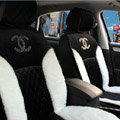 Luxury Diamond Chanel Universal Automobile Velvet Wool Car Seat Cover Cushion 10pcs Sets - Black