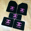 Personality Chanel Universal Automotive Carpet Car Floor Mats Velvet 5pcs Sets - Rose