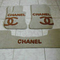 Winter Chanel Tailored Trunk Carpet Cars Floor Mats Velvet 5pcs Sets For Mercedes Benz C63 AMG - Beige
