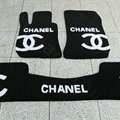 Winter Chanel Tailored Trunk Carpet Auto Floor Mats Velvet 5pcs Sets For BMW 525i - Black
