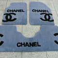 Winter Chanel Tailored Trunk Carpet Cars Floor Mats Velvet 5pcs Sets For BMW 525i - Cyan
