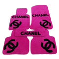 Best Chanel Tailored Winter Genuine Sheepskin Fitted Carpet Car Floor Mats 5pcs Sets For BMW MINI Checkmate - Pink