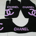 Winter Chanel Tailored Trunk Carpet Cars Floor Mats Velvet 5pcs Sets For Peugeot 208 - Pink