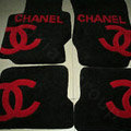 Fashion Chanel Tailored Trunk Carpet Auto Floor Mats Velvet 5pcs Sets For Peugeot iOn - Red