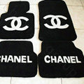Winter Chanel Tailored Trunk Carpet Cars Floor Mats Velvet 5pcs Sets For Peugeot iOn - Black