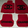 Winter Chanel Tailored Trunk Carpet Cars Floor Mats Velvet 5pcs Sets For Peugeot iOn - Red