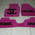 Winter Chanel Tailored Trunk Carpet Cars Floor Mats Velvet 5pcs Sets For Peugeot iOn - Rose