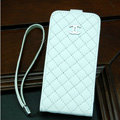 Chanel Genuine leather Case Flip Holster Cover for iPhone 6S Plus - White