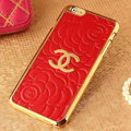 Unique Chanel Metal Flower Leather Cases Luxury Hard Back Covers Skin for iPhone 6S Plus - Red