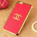 Unique Chanel Metal Flower Leather Cases Luxury Hard Back Covers Skin for iPhone 6S Plus - Watermelon