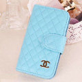 Chanel folder leather Cases Book Flip Holster Cover Skin for iPhone 7 Plus - Blue