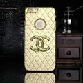 Chanel leather Cases Luxury Hard Back Covers Skin for iPhone 7 Plus - Gold