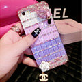 Luxury Chanel Bling Crystal Cases Red lips Flower Covers for iPhone 7 Plus - Purple