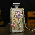 Ballet Swarovski Chanel Perfume Bottle Floral Rhinestone Cases for iPhone 5S - Pink