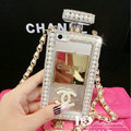 Bling Swarovski Chanel Perfume Bottle Good Pearl Cases for iPhone 5S - White