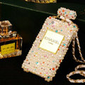 Bling Swarovski Chanel Perfume Bottle Good Pearl Covers For iPhone 5S - White