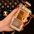 Bling Swarovski Chanel Perfume Bottle Good Rhinestone Cases for iPhone 5S - White