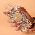 Bling Swarovski Chanel Perfume Bottle Good Rhinestone Covers For iPhone 5S - White
