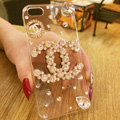 Bling Unique Chanel Crystal Silicone Cases For iPhone 7 Plus - White