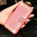 Chanel Bling Crystal Leather Flip Holster Pearl Cases For iPhone 5S - Rose
