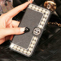 Chanel Bling Crystal Leather Flip Holster Pearl Cases For iPhone 6 - Black