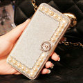 Chanel Bling Crystal Leather Flip Holster Pearl Cases For iPhone 6S Plus - Champagne