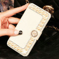 Chanel Bling Crystal Leather Flip Holster Pearl Cases For iPhone 6S Plus - White