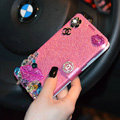 Chanel Bling Lip Leather Flip Holster Color Rhinestone Cases For iPhone 5S - Rose