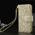 Chanel Rose Pattern Genuine Leather Case Book Flip Holster Cover For iPhone 5S - Beige