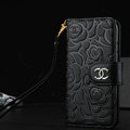 Chanel Rose Pattern Genuine Leather Case Book Flip Holster Cover For iPhone 5S - Black
