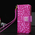 Chanel Rose Pattern Genuine Leather Case Book Flip Holster Cover For iPhone 5S - Rose