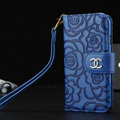 Chanel Rose Pattern Genuine Leather Case Book Flip Holster Cover For iPhone 7 - Blue