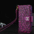 Chanel Rose Pattern Genuine Leather Case Book Flip Holster Cover For iPhone 7 - Purple