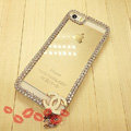 Cheap Diamond Chanel Matte Hard Back Cases For iPhone 5S - White