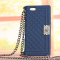Classic Chanel Chain Handbag Silicone Cases For iPhone 6 Plus - Blue