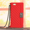Classic Chanel Chain Handbag Silicone Cases For iPhone 6 Plus - Red