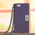 Classic Chanel Chain Handbag Silicone Cases For iPhone 6S Plus - Purple